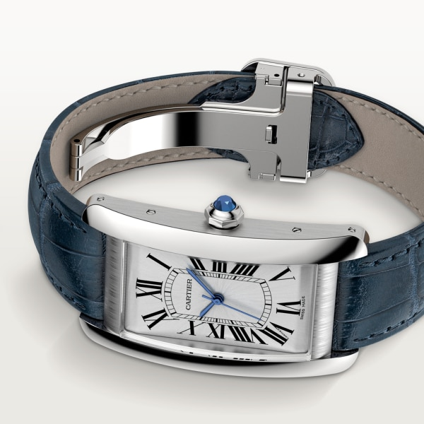 Tank Américaine watch Large model, automatic movement, steel, leather