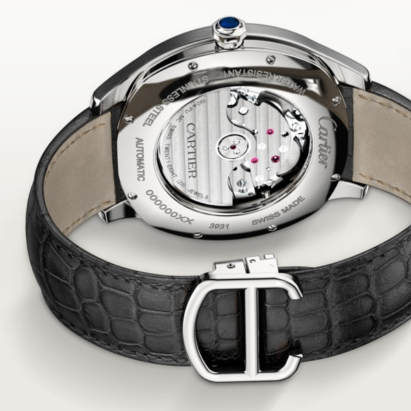 Drive de Cartier watch, Large Date, Retrograde Second Time Zone and Day Night Indicator Large model, automatic movement, steel, leather