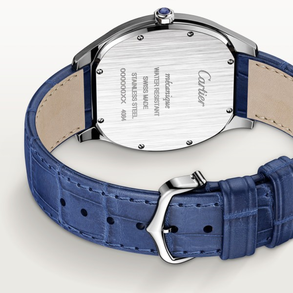 Drive de Cartier Extra-Flat watch Large model, hand-wound mechanical movement, steel, leather
