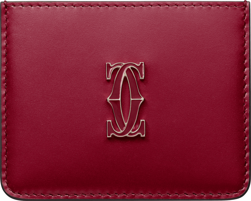 Simple Card Holder, Double C de CartierCherry red calfskin, gold and cherry red enamel finish