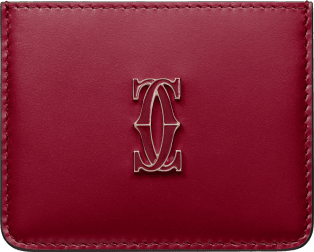 Simple Card Holder, Double C de Cartier Cherry red calfskin, gold and cherry red enamel finish