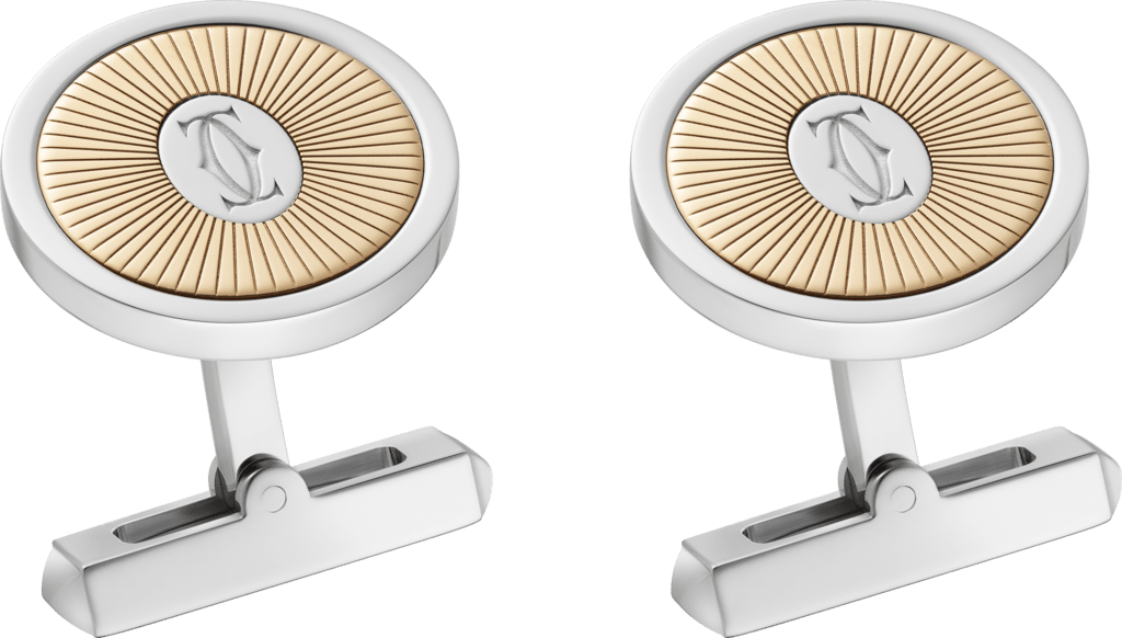 Double C de Cartier logo cufflinks with gold and silver Sunray motifYellow gold, sterling silver, palladium finish