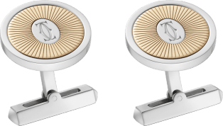 Double C de Cartier logo cufflinks with gold and silver Sunray motif Yellow gold, sterling silver, palladium finish