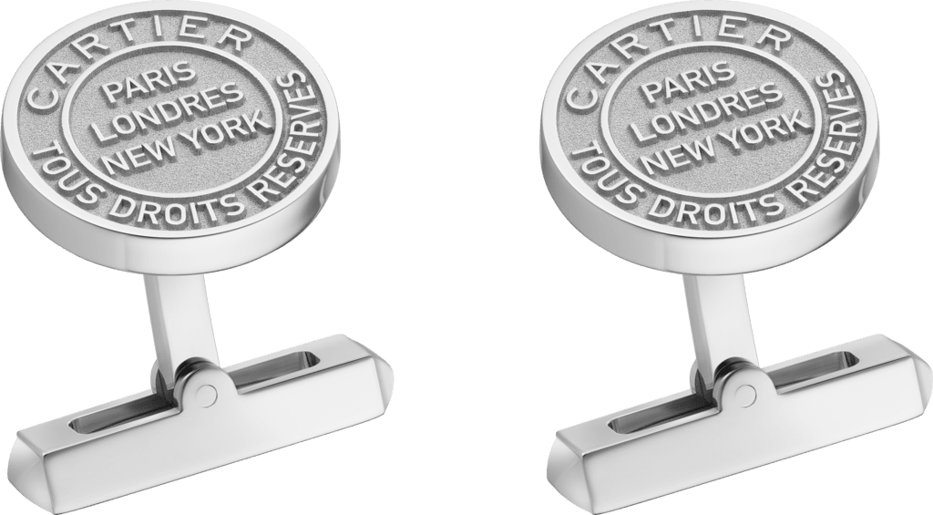 Double C de Cartier cufflinks with silver Stamp motif.Sterling silver, palladium finish.