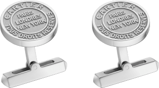Double C de Cartier cufflinks with silver Stamp motif. Sterling silver, palladium finish.
