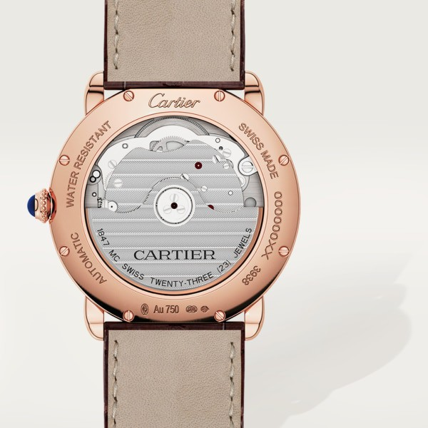 Ronde Louis Cartier watch 36mm, automatic movement, rose gold, leather