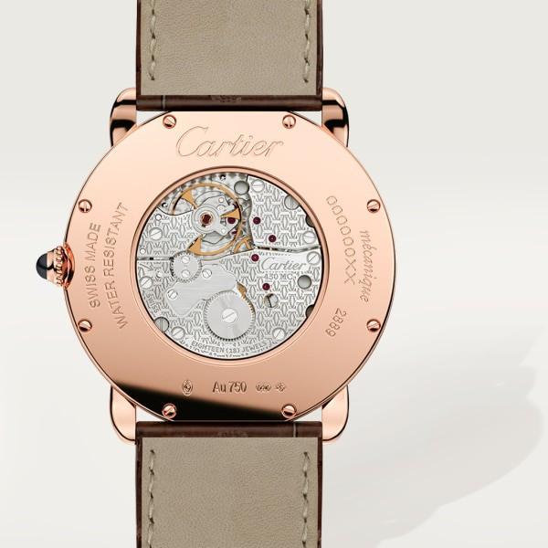 Ronde Louis Cartier watch 36mm, hand-wound mechanical movement, rose gold, leather