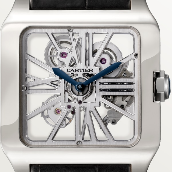 Santos-Dumont Skeleton watch Extra-large model, hand-wound mechanical movement, white gold
