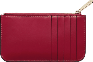 Zipped card holder, Double C de Cartier Cherry red calfskin, gold and cherry red enamel finish