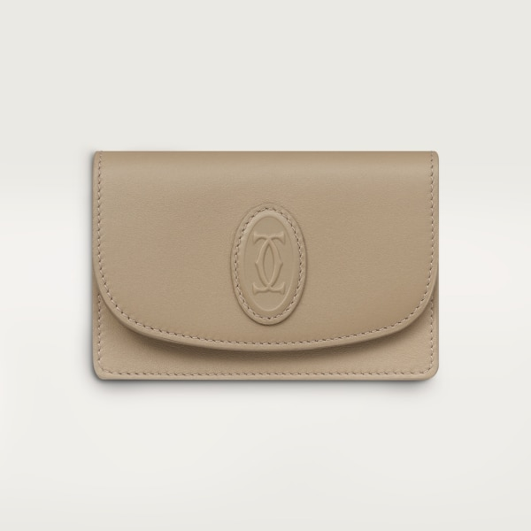 Multi-card Holder with Flap, Must de Cartier Taupe gray calfskin, gold finish