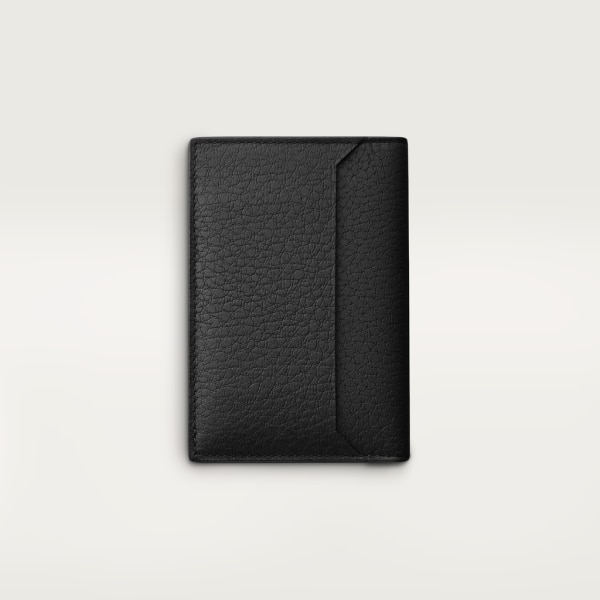 Must de Cartier 4-card holder Smooth and grained black calfskin, black PVD finish