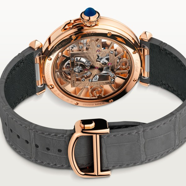 Pasha de Cartier watch 41 mm, mechanical movement with manual winding, rose gold, 2 interchangeable leather straps