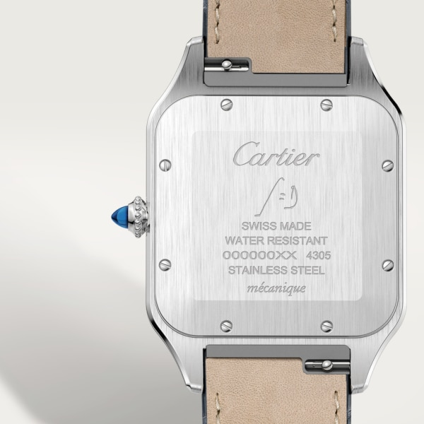 Santos-Dumont watch Extra-large model, hand-wound mechanical movement, rose gold, steel, leather