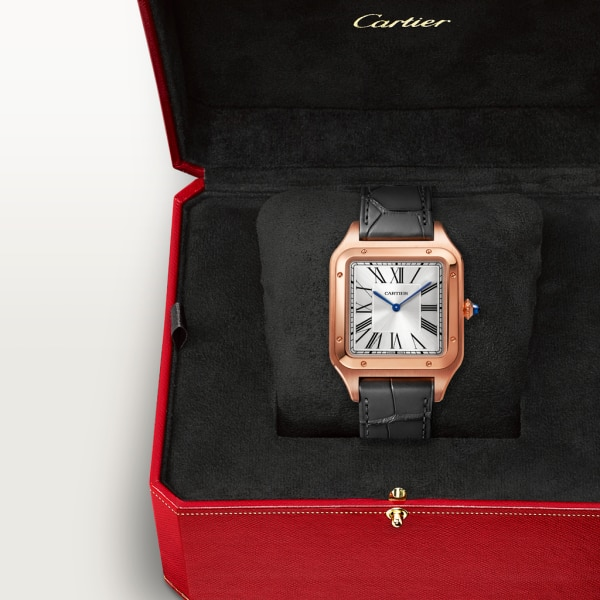 Santos-Dumont watch Extra-large model, hand-wound mechanical movement, rose gold, leather