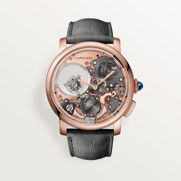 Rotonde de Cartier watch 45mm, hand-wound mechanical movement, rose gold, leather