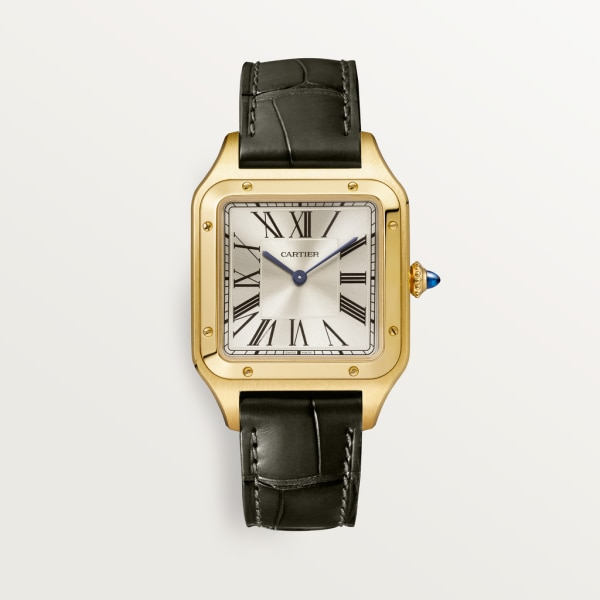 Santos-Dumont watch Large model, hand-wound mechanical movement, yellow gold, leather