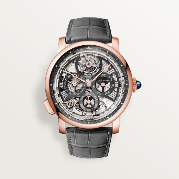 Rotonde de Cartier watch 45mm, automatic movement, rose gold, leather