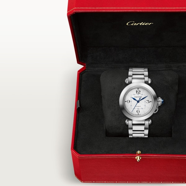 Pasha de Cartier watch 35mm, automatic movement, steel, interchangeable metal and leather straps