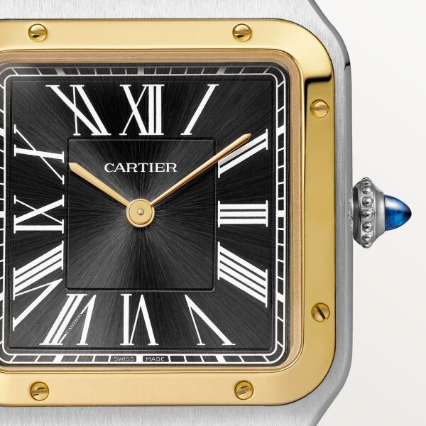 Santos-Dumont watch Large model, hand-wound mechanical movement, yellow gold, steel, leather