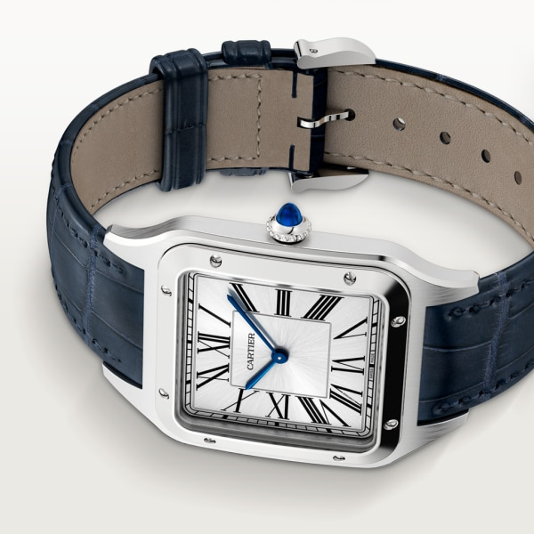 Santos-Dumont watch Extra-large model, hand-wound mechanical movement, steel, leather