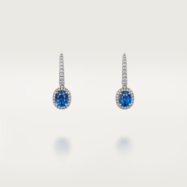 Cartier Destinée earrings with colored stone White gold, sapphire, diamonds.