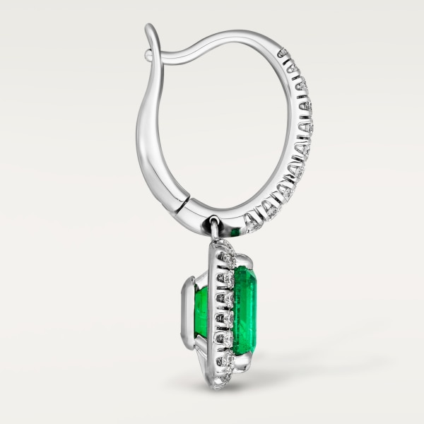 Cartier Destinée earrings with colored stone White gold, emerald, diamonds