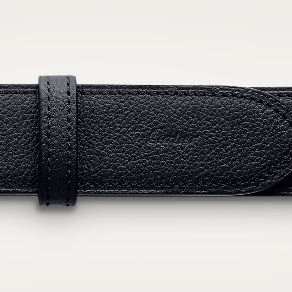 Santos de Cartier belt Grained midnight blue cowhide, palladium-finish buckle and covered with leather