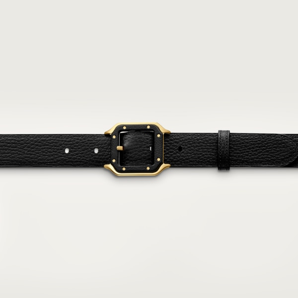 Santos de Cartier belt Black grained cowhide, gold-finish buckle and covered with leather