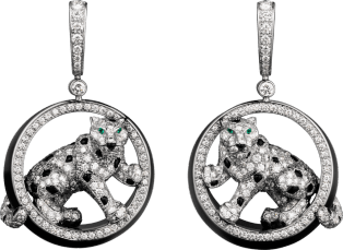 Panthère de Cartier earrings White gold, emeralds, jade, onyx, diamonds