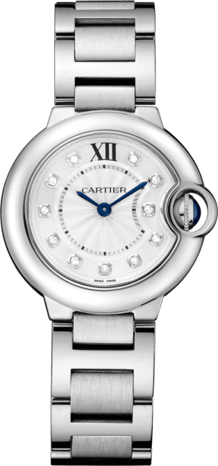 Ballon Bleu de Cartier watch 28 mm, steel, diamonds