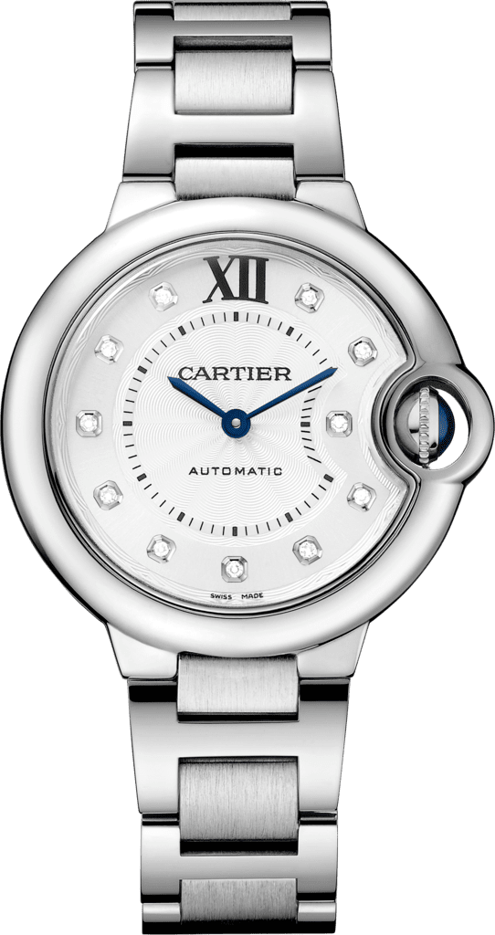 Ballon Bleu de Cartier watch33 mm, steel, diamonds