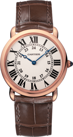 Ronde Louis Cartier watch 36 mm, 18K pink gold, leather
