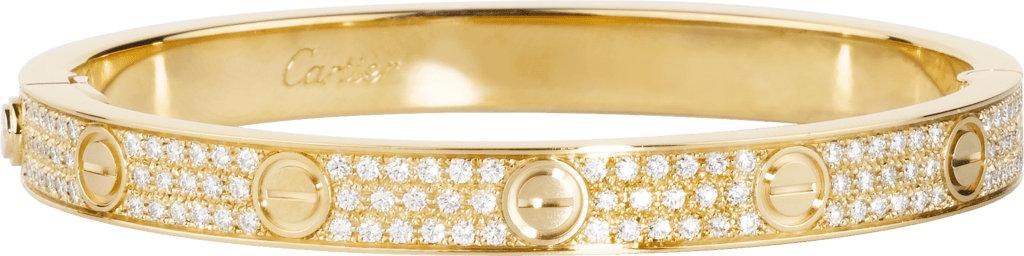 Love bracelet, diamond-pavedYellow gold, diamonds