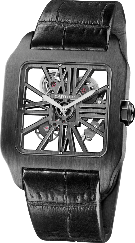 Santos-Dumont Skeleton watchXL, manual, titanium with ADLC coating, leather