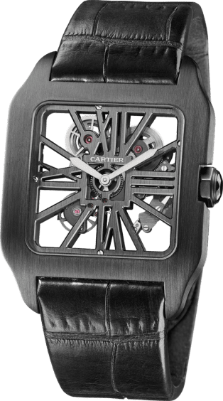 Santos-Dumont Skeleton watch XL, manual, titanium with ADLC coating, leather