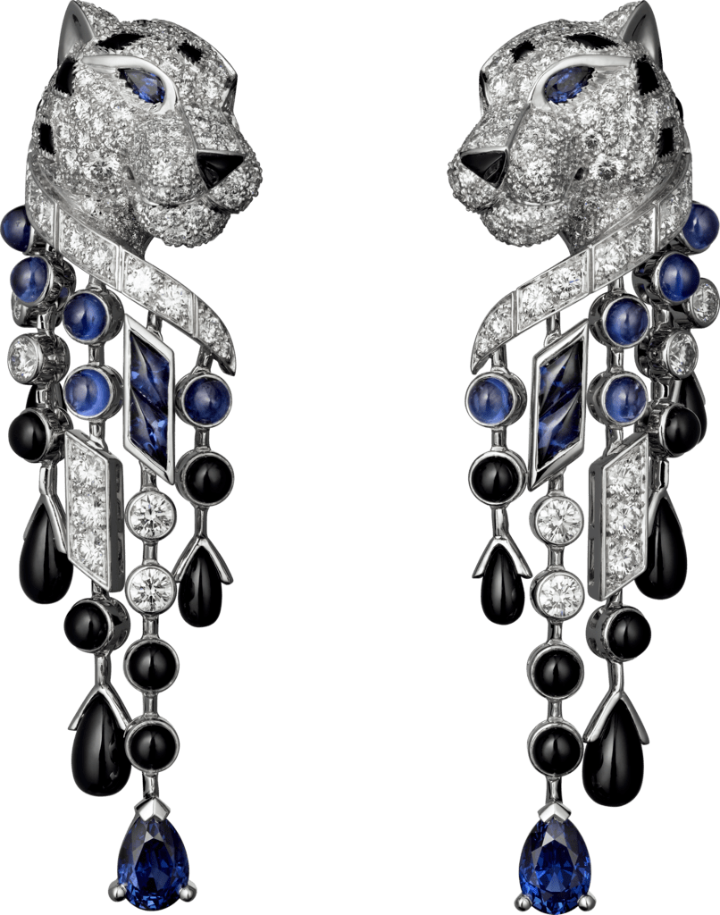 Panthère de Cartier earringsPlatinum, sapphires, onyx, diamonds