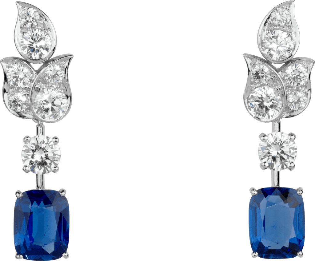 High Jewelry earringsPlatinum, sapphires, diamonds