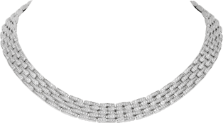 Maillon Panthère thin necklace, 5 diamond-paved rows White gold, diamonds