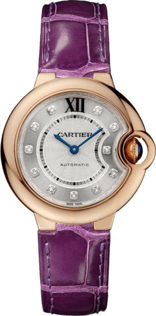 Ballon Bleu de Cartier watch 33 mm, 18K pink gold, diamonds, leather