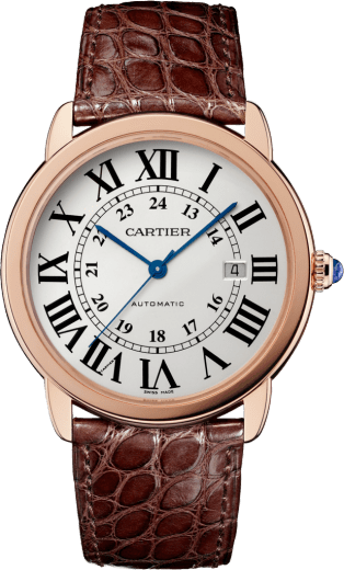 Ronde Solo de Cartier watch 42mm, automatic movement, pink gold, steel, leather