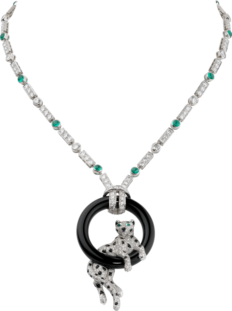 Panthère de Cartier necklacePlatinum, emeralds, onyx, diamonds