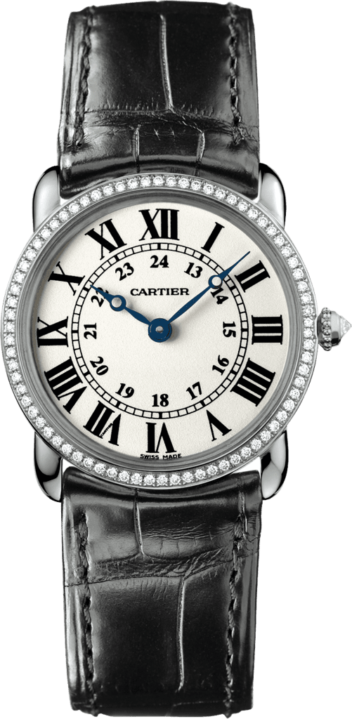 Ronde Louis Cartier watch29 mm, rhodiumized 18K white gold, leather, diamonds