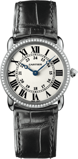 Ronde Louis Cartier watch 29 mm, rhodiumized 18K white gold, leather, diamonds