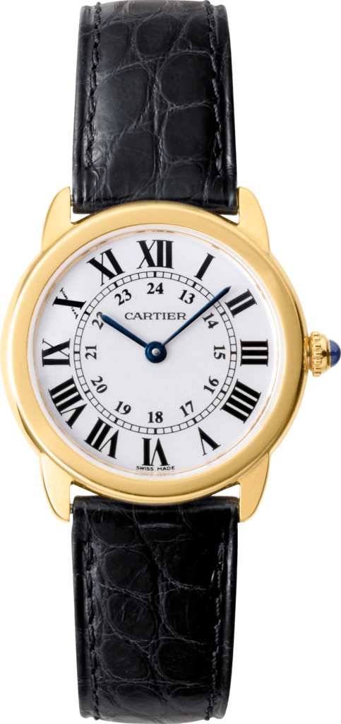 Ronde Solo de Cartier watch29 mm, 18K yellow gold, steel, leather