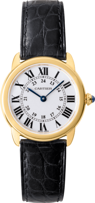 Ronde Solo de Cartier watch 29 mm, 18K yellow gold, steel, leather