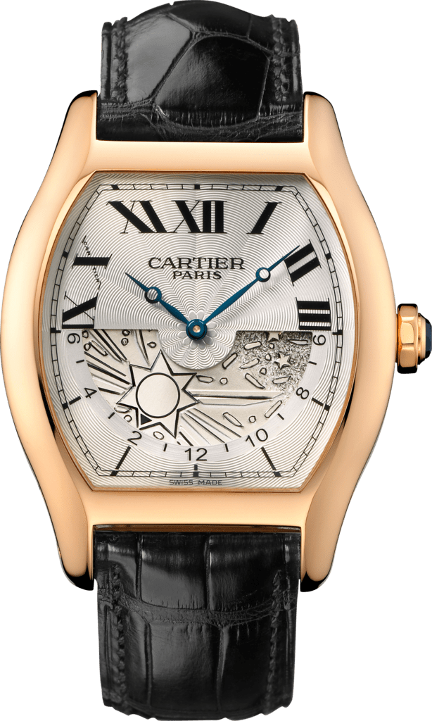 Tortue XL watchExtra-large model, hand-wound mechanical movement, rose gold, leather