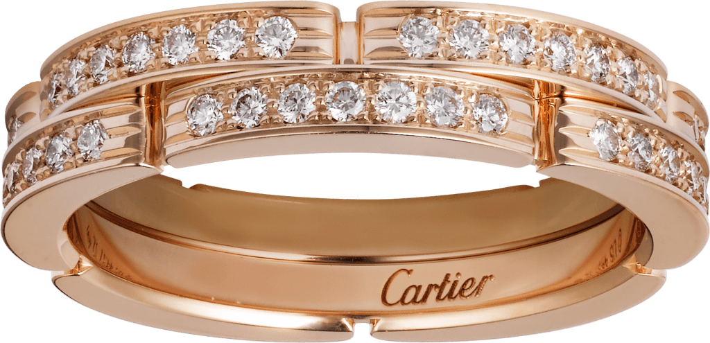 Maillon Panthère thin wedding band, 2 half diamond-paved rowsPink gold, diamonds