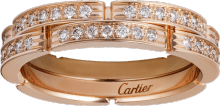 Maillon Panthère thin wedding band, 2 half diamond-paved rows Pink gold, diamonds