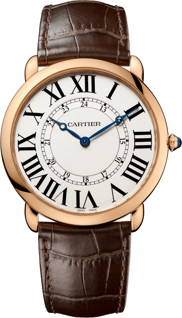 Ronde Louis Cartier watch42 mm, pink gold, leather