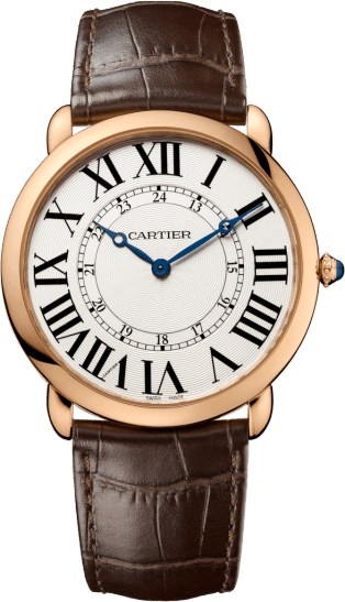 Ronde Louis Cartier watch 42 mm, 18K pink gold, leather